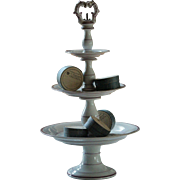 19th Century French Porcelain Tazza Compote Stand - Antique 3-tier Petit Fours Cakes Stand
