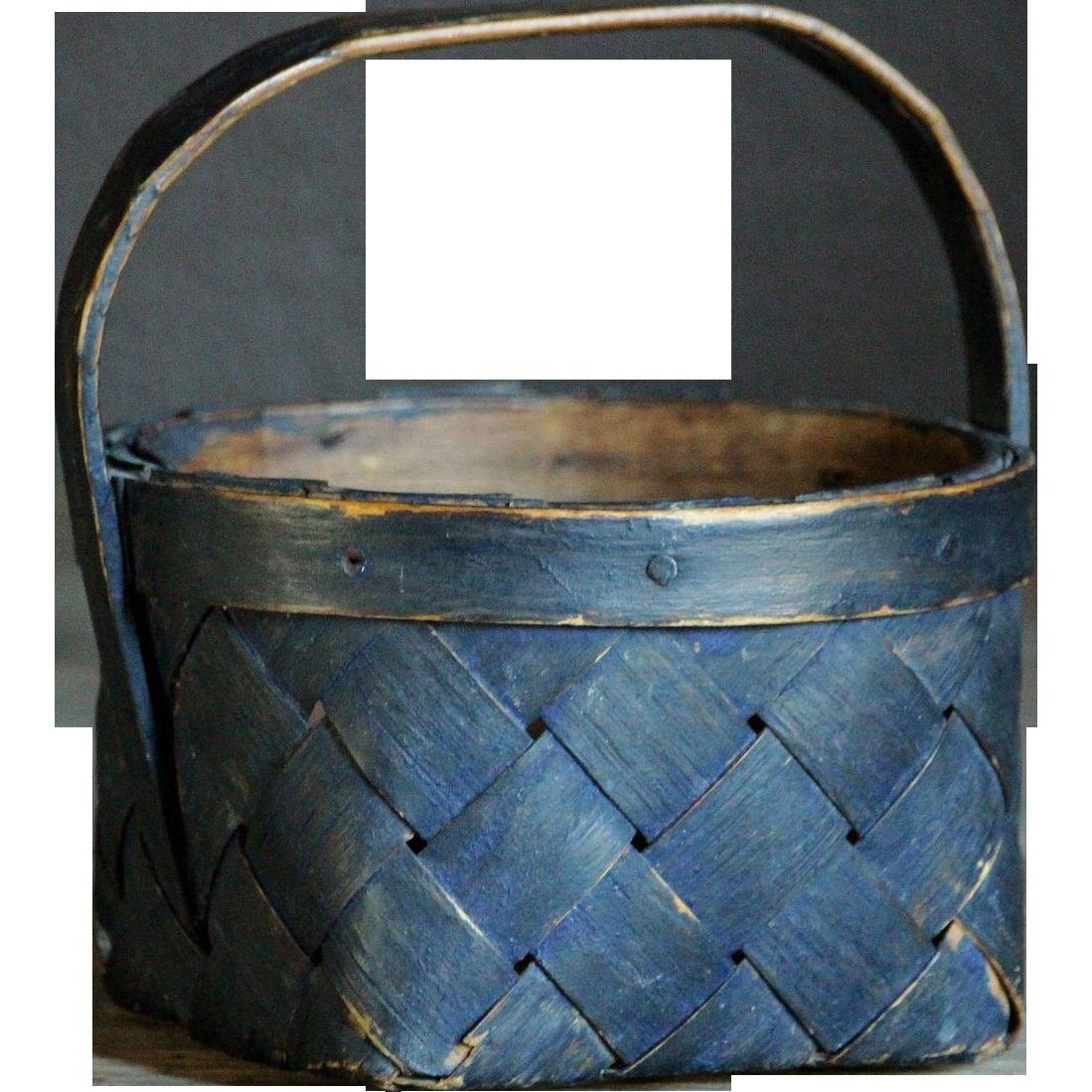 Antique Swedish Folk Art Splint Woven Basket -SMALL Berry Gathering / Garden Basket