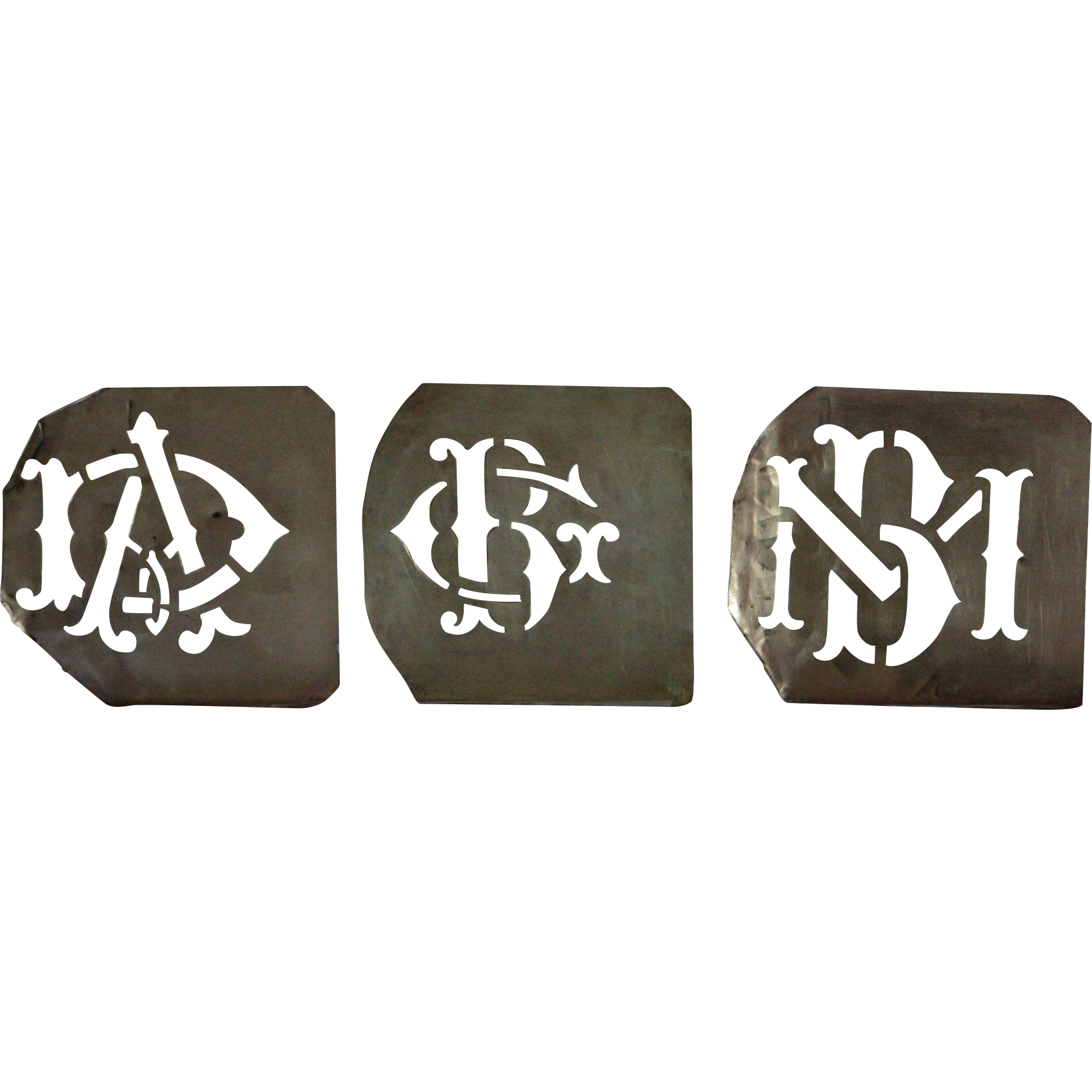Antique French Monogram Stencils - 19th Century Dowry Sheet Stencil