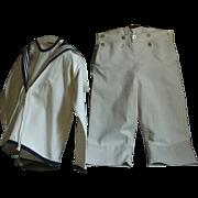 Vintage English Boys Sailor Suit - Child's Naval Dress Outfit