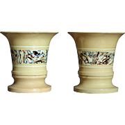 19th Century English Yelloware Agate Flower Pots - Antique Agateware / Mochaware Pot