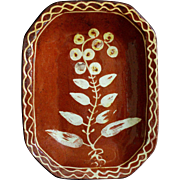 Antique English Slipware Earthenware Pie Baking Dish - 19th Century Redware Pottery
