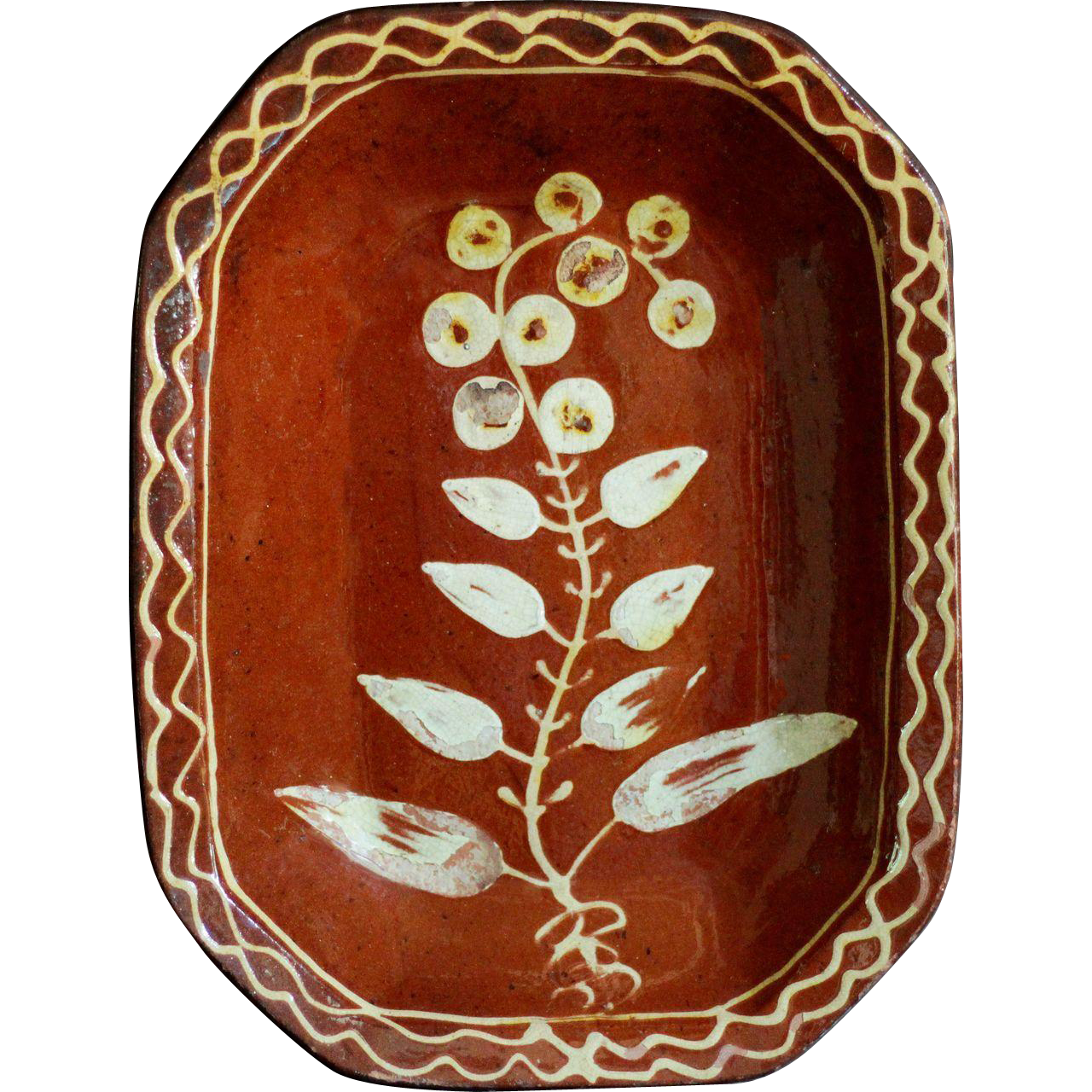 Antique English Slipware Earthenware Pie Baking Dish - 19th Century Redware Pottery
