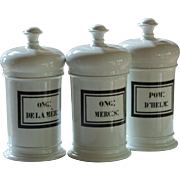 19th Century French Porcelain Apothecary Jars - Antique Pharmacy Chemist Jars