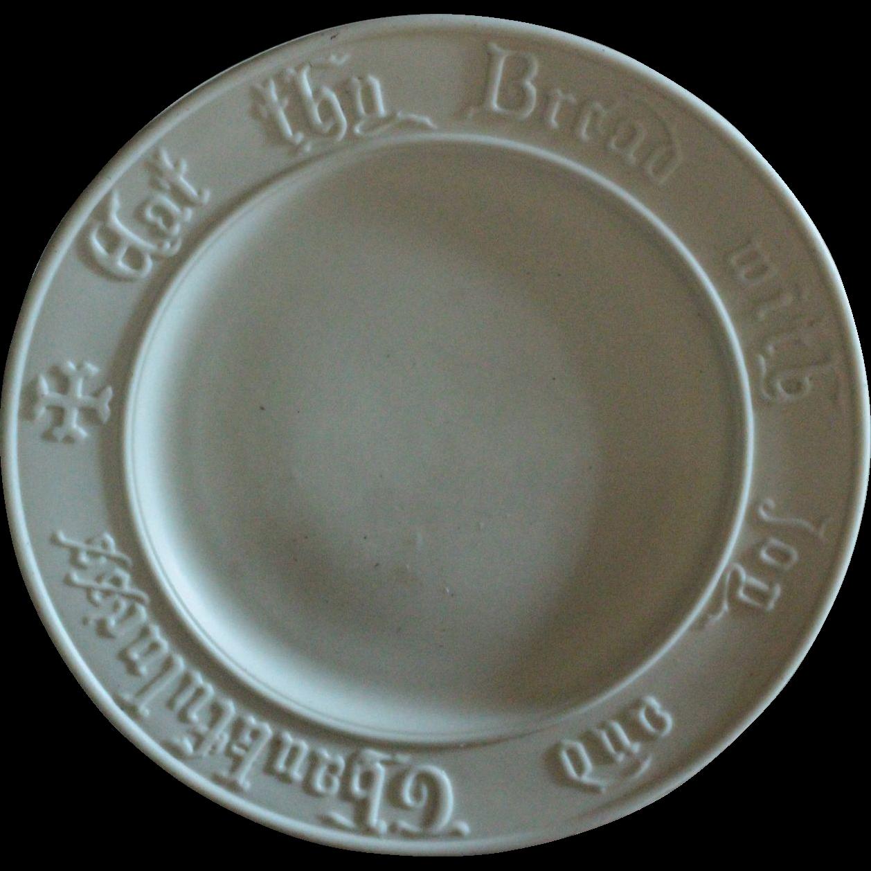 19th Century English Parian Ware Bread Platter - Antique Victorian Motto Bread Plate