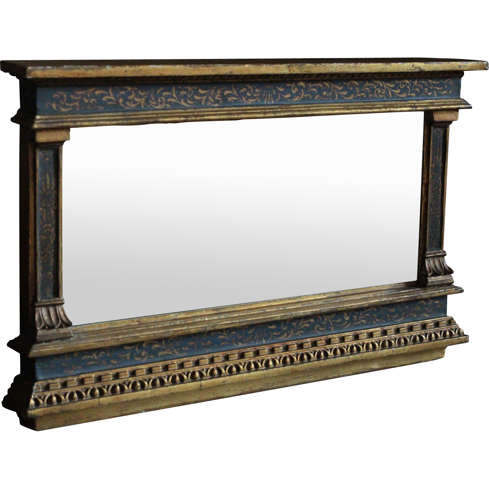 Antique Italian Florentine Pier Mirror - Neoclassical Gilded Over-Mantle Wall Mirror