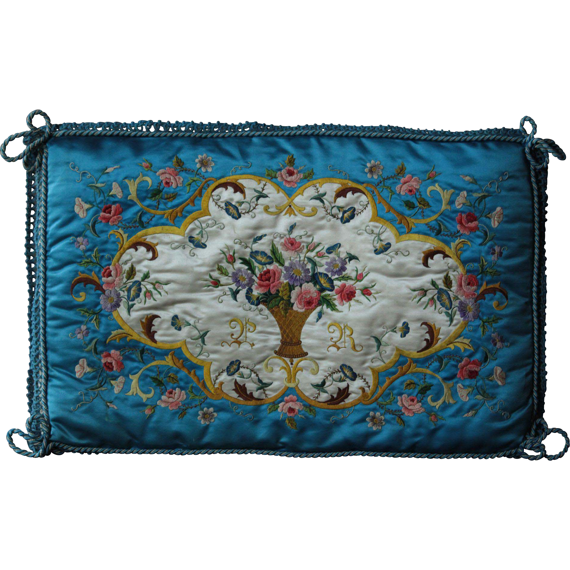 Antique French Embroidered Silk Lingerie Case / Cover