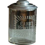 English Carr's Biscuits Glass Jar