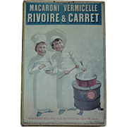 1920 Vintage French Rivoire & Carret Macaroni Vermicelle Pasta Board Poster - Store Advertising Sign