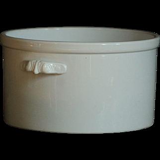 Antique White Ironstone Crock - Cache Pot