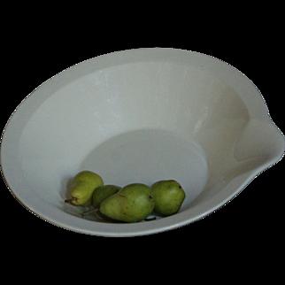 Antique English Dairy Cream / Milk Setting Pan  - Creamware Lipped Bowl