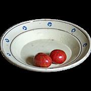 Antique Italian Puglia Glazed Earthenware Dish - Terracotta  / Spongeware Platter / Bowl