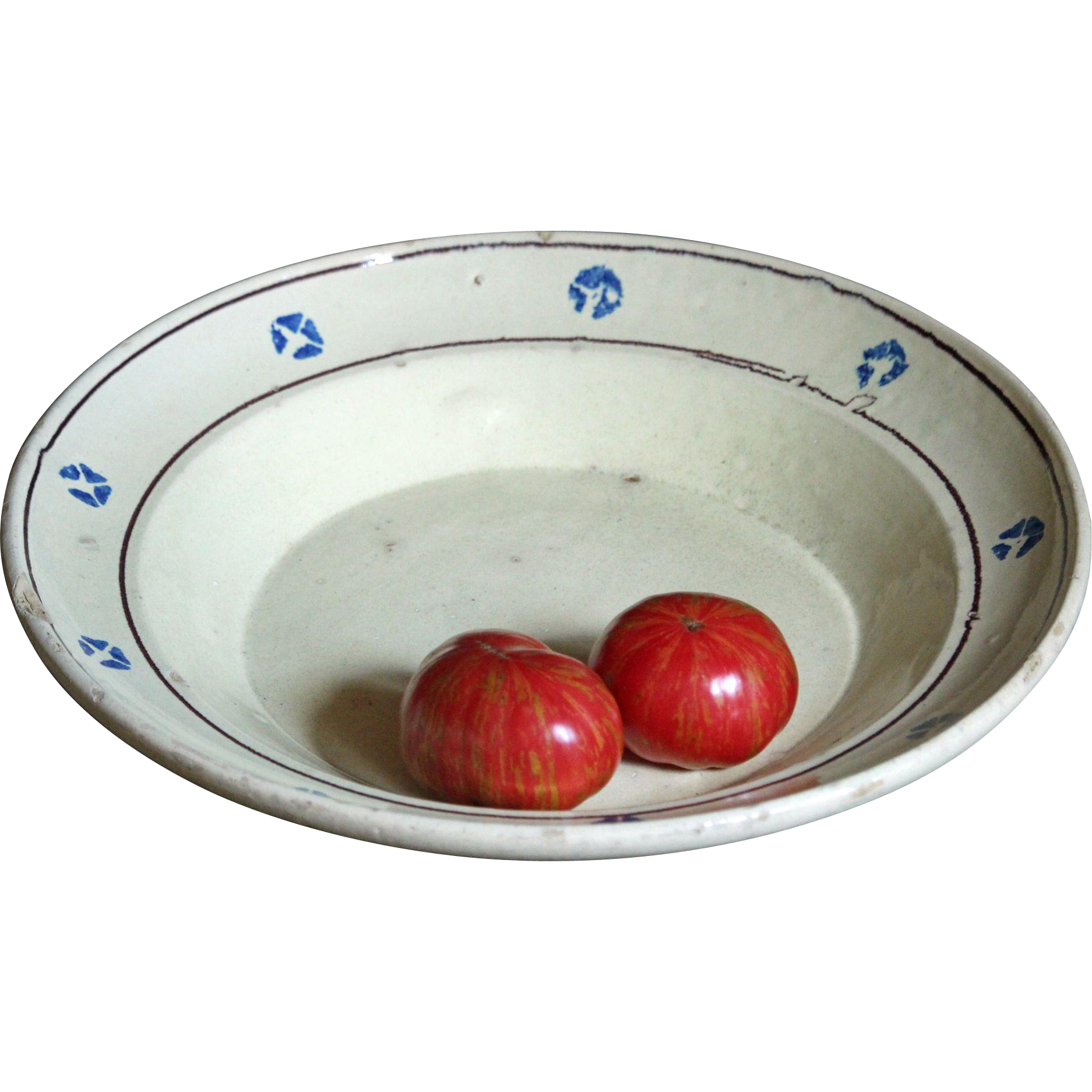 Antique Italian Puglia Glazed Earthenware Dish - Terracotta  / Spongeware Platter / Bowl