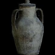 Antique Italian Puglia Earthenware Amphora / Confit Pot - Terracotta Water Vessel