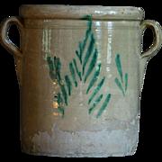 Antique Italian Puglia Glazed Terracotta Earthenware Confit Pot