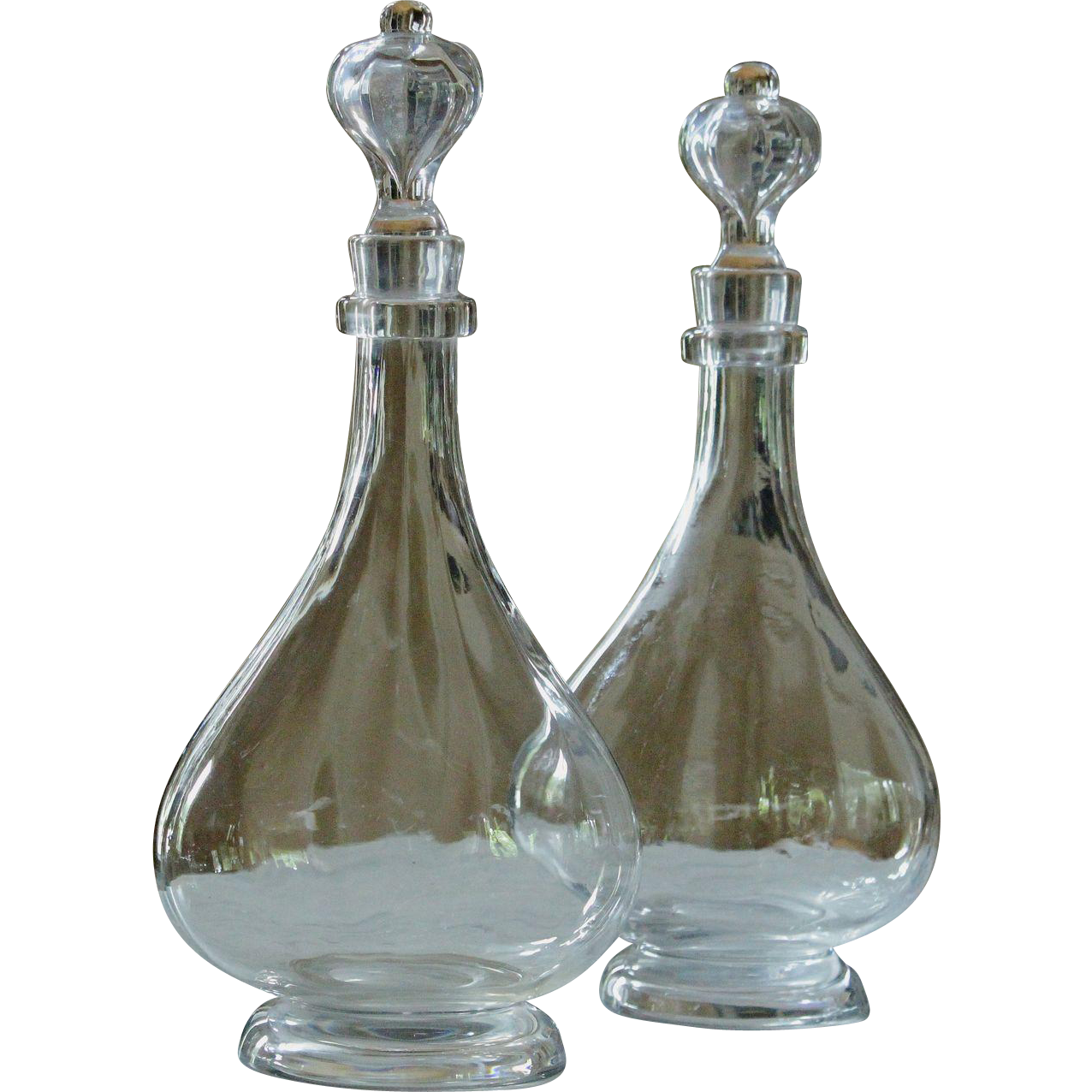 Antique 19th Century French Baccarat Crystal Glass Carafes - Decanters