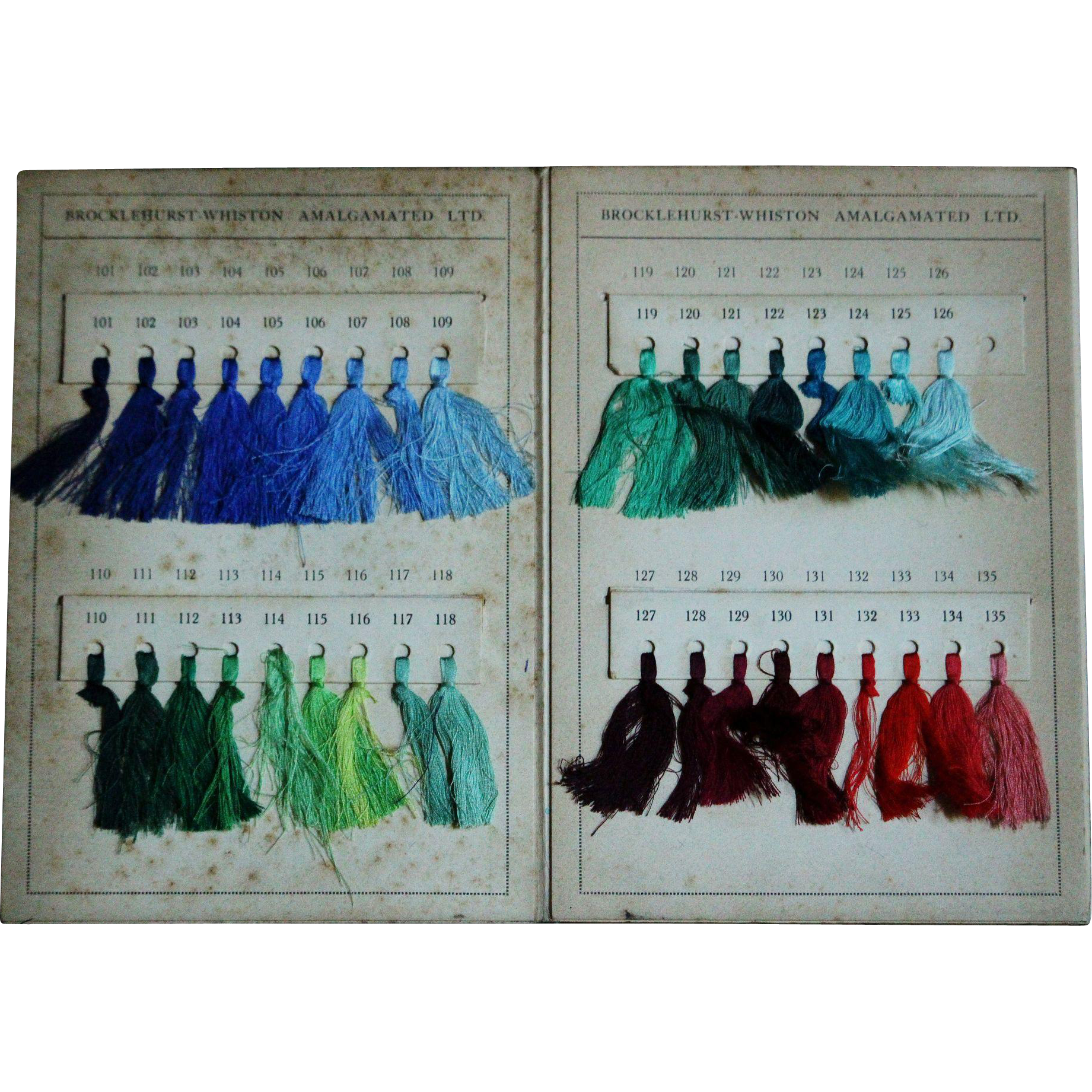 Vintage 1930s English Textile Color Swatch Chart Book - Silk Thread Sample Card Trade Cataloge