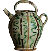 19th Century French  Eathernware Water Jug - Cruche - Yellow Slip Glazed  Pot
