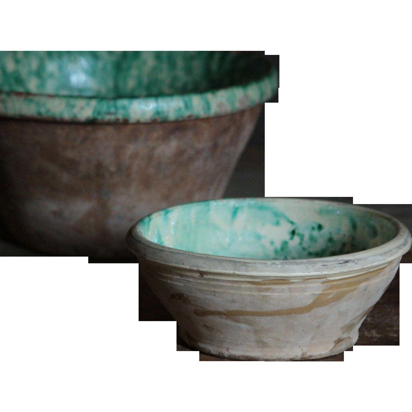Antique Italian Terrcotta Passata Bowl- Slip Glazed Spongeware