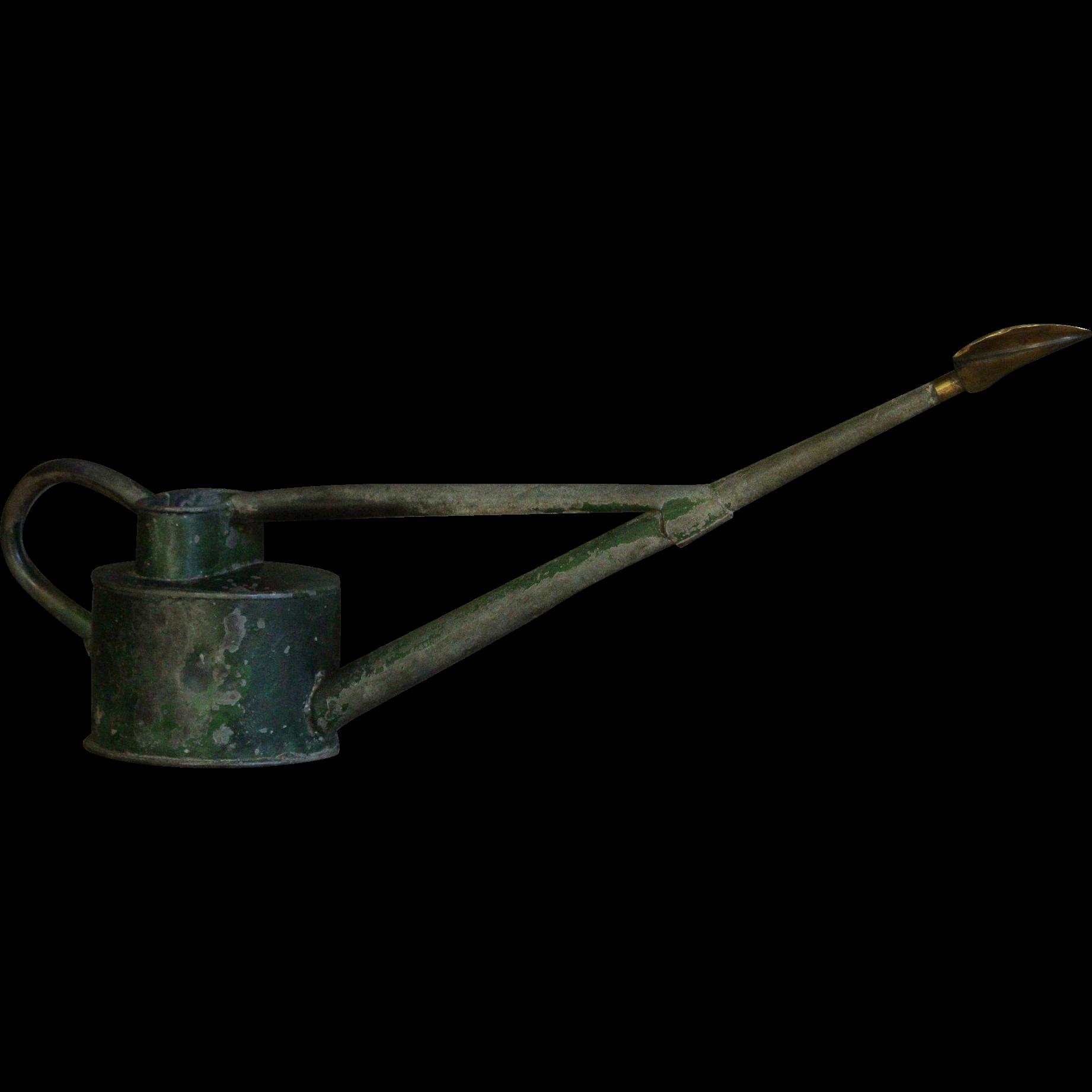 VIntage English Zinc Garden Watering Can - Original Green Paint.