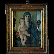 Antique Joannes Bellinus Religious Print - Framed Giovanni Bellini Madonna