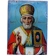 Antique Russian Orthodox Icon - St Nicholas