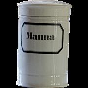 Antique Porcelain Apothecary Jar - Manna