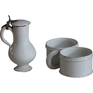 Antique French Tin Glazed Earthenware Double Salt Cellar & Lidded Jug