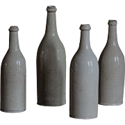 Antique French Glazed Stoneware Wine Cider Bottles