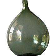 19th Century French Wine Demijohn - Antique Blown Glass Bottle / Flask