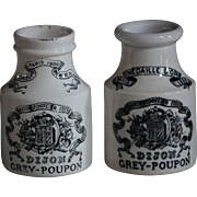 Antique French Pottery Dijon Grey-Poupon Mustard Pots