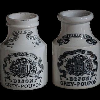 Antique French Pottery Dijon Grey-Poupon Mustard Pots