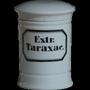 Antique Porcelain Chemist's Apothecary Jar - Extr: Taraxac.