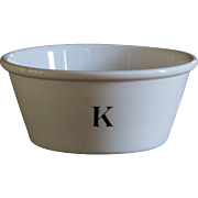 Antique Victorian English Ironstone K Bowl - 19th Century Kitchenware Ironstone Mixing Bowl