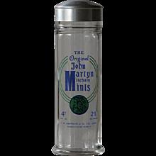 Vintage John Martyn Mints Candy / Sweets Glass Jar - Advertising Shop Display Jar - Red Tag Sale Item