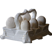 Antique English China Dummy Eggs & 19th French Century Porcelain Egg Cup Holder / Stand