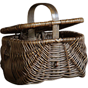 MINIATURE Antique English Southport Wicker Woven CHILD'S Basket - Apprentice Sample Hamper