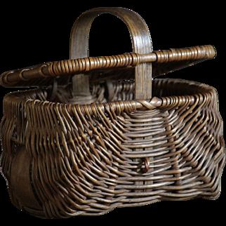 MINIATURE Antique English Southport Wicker Woven CHILD'S Basket - Apprentice Sample Hamper
