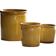 Antique French Confiture Pots - Yellow Slip Glaze Terracotta Confit Pots