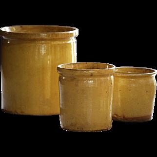 Antique French Confiture Pots - Yellow Slip Glaze Terracotta Confit Pots