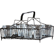 Antique French Wire Ware Work Glass Carrier Basket - Panier