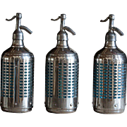 Vintage 1940s Soda Siphon Seltzer Bottles - Blue Glass & Chrome