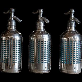 Vintage 1940s Soda Siphon Seltzer Bottles - Blue Glass & Chrome