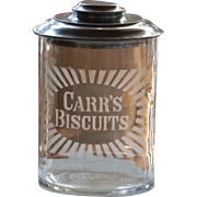 Antique English Carr's Biscuits Glass Jar - Advertising / Shop Display