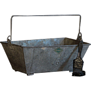Vintage French Galvanized Metal Trug - Workman's Caddy / Garden Basket