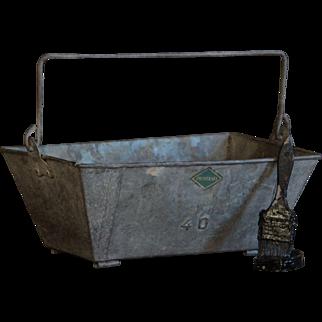 Vintage French Galvanized Metal Trug - Workman's Caddy / Garden Basket