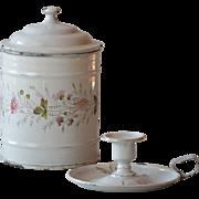 Antique French Floral Enamelware Canister & Enamel Candleholder - Graniteware