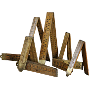 Antique English Rabone Boxwood & Brass Folding Rulers - Collection