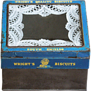 Vintage English Wright's Biscuits Advertising Shop Display Storage TIn
