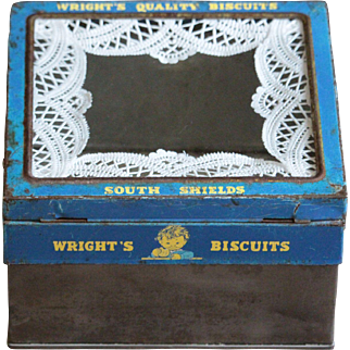 Vintage English Wright's Biscuits Advertising Shop Display Storage TIn